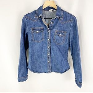 Andrew & Co Denim Button Down Top Blue Size Small